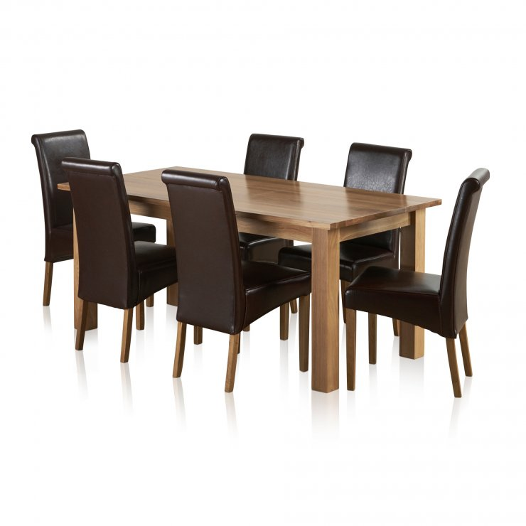 Contemporary Natural Solid Oak Dining Set - 6ft Table with 6 Scroll Back Brown Leather Chairs - Image 6