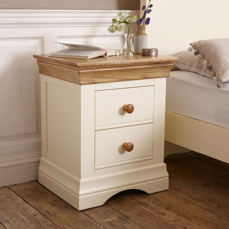Country Cottage Natural Oak and Painted 2 Drawer Bedside Table