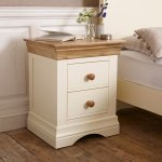 Country Cottage Natural Oak and Painted 2 Drawer Bedside Table - Thumbnail 2