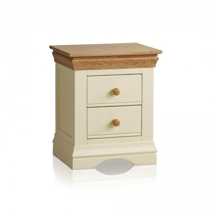 Country Cottage Natural Oak and Painted 2 Drawer Bedside Table - Image 6