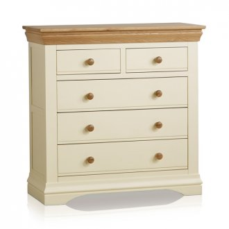 Country Cottage Natural Oak and Painted 3+2 Drawer Chest