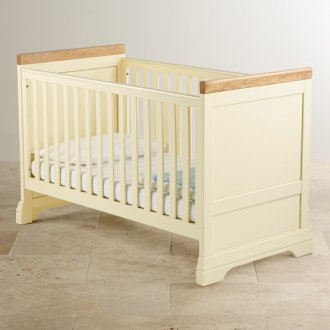 Country Cottage Natural Oak and Painted 3 in 1 Cot Bed