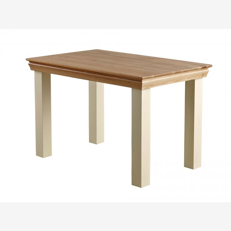 "Country Cottage Natural Oak and Painted 4ft x 2ft 6"" Dining Table - Image 5"