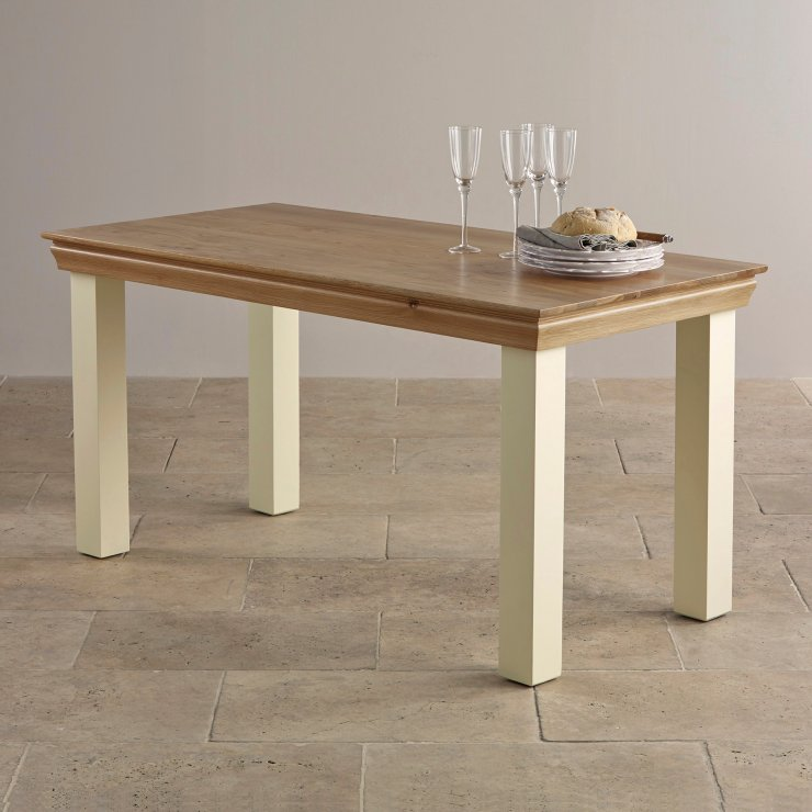 "Country Cottage Natural Oak and Painted 5ft x 2ft 6"" Dining Table"