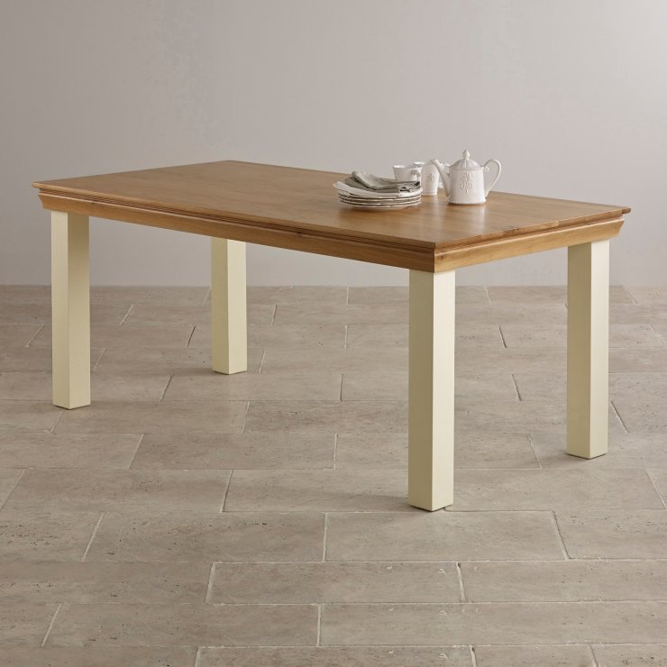 Country Cottage Natural Oak and Painted 6ft x 3ft Dining Table