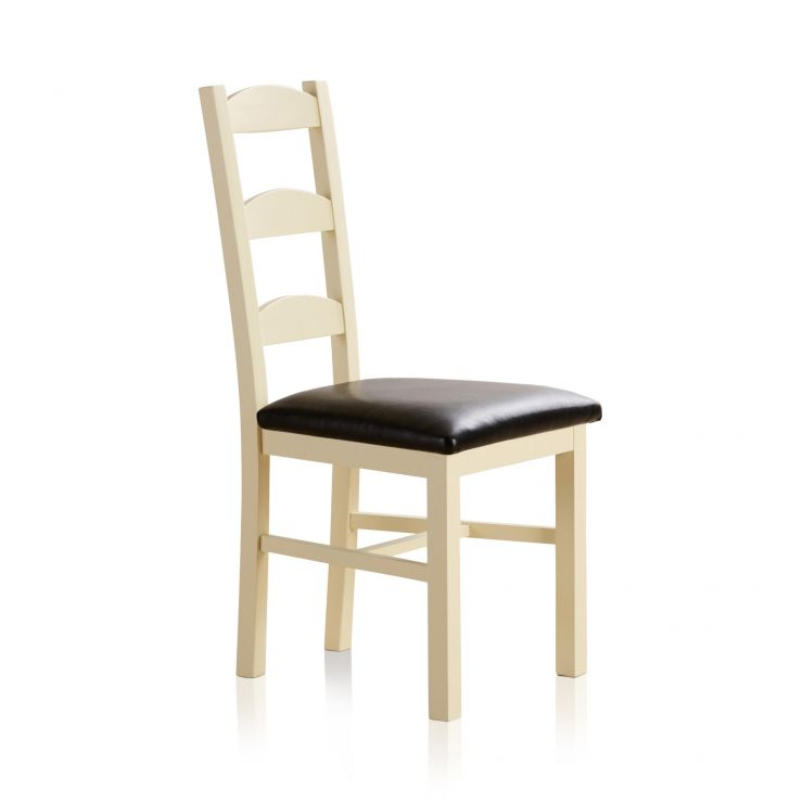 Country Cottage Natural Oak and Painted and Black Leather Dining Chair - Image 3