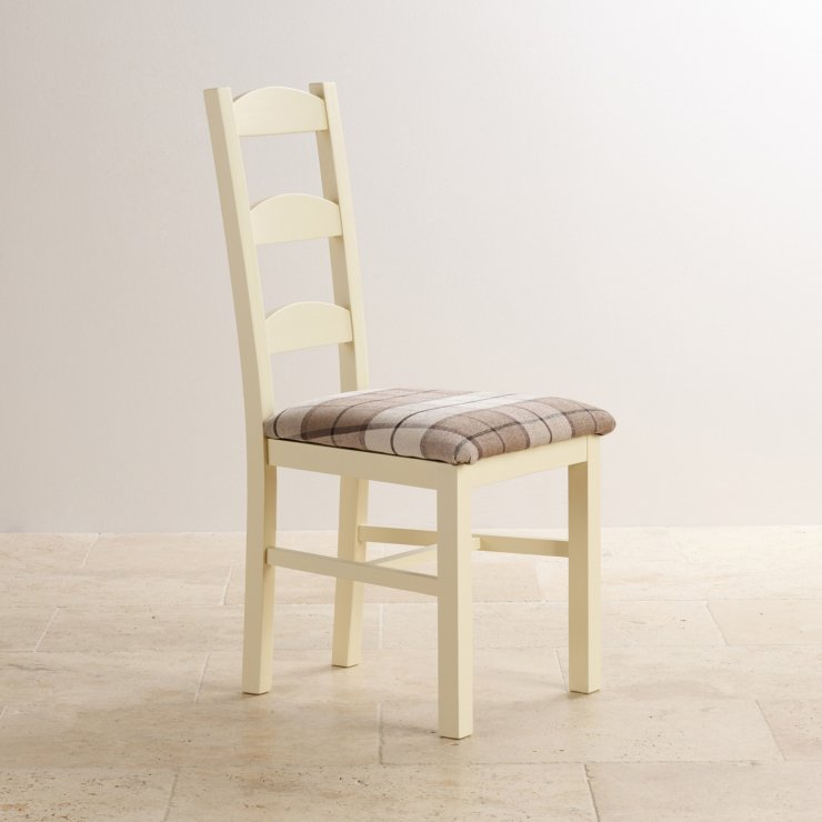 Country Cottage Natural Oak and Painted and Check Brown Fabric Dining Chair