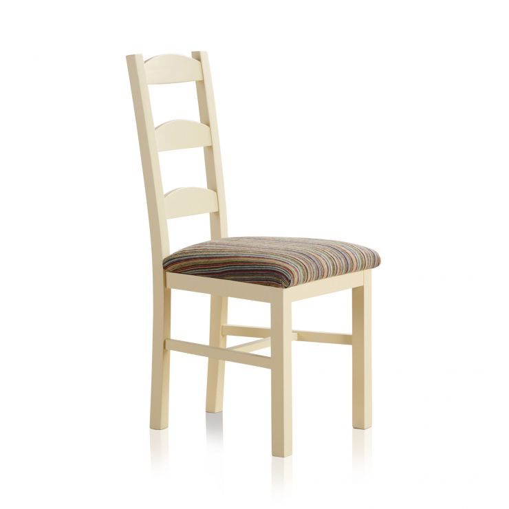 Country Cottage Natural Oak and Painted and Multi-coloured Stripe Fabric Dining Chair