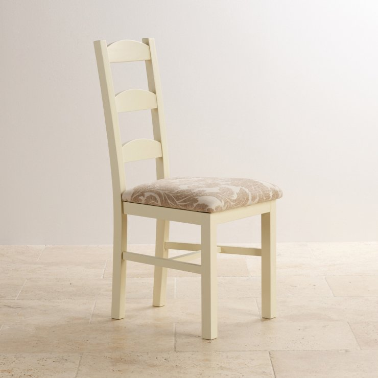 Country Cottage Natural Oak and Painted and Patterned Beige Fabric Dining Chair - Image 2