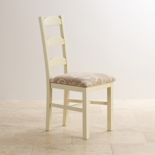 Country Cottage Natural Oak and Painted and Patterned Beige Fabric Dining Chair