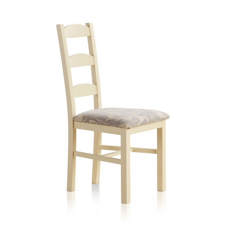Country Cottage Natural Oak and Painted and Patterned Grey Fabric Dining Chair - Image 3