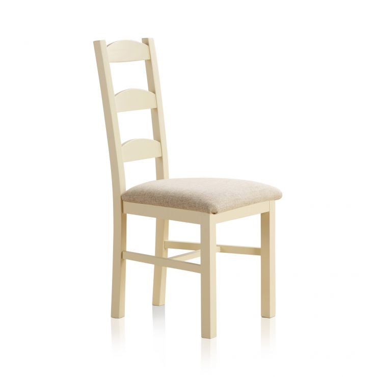 Country Cottage Natural Oak and Painted and Plain Beige Fabric Dining Chair - Image 1