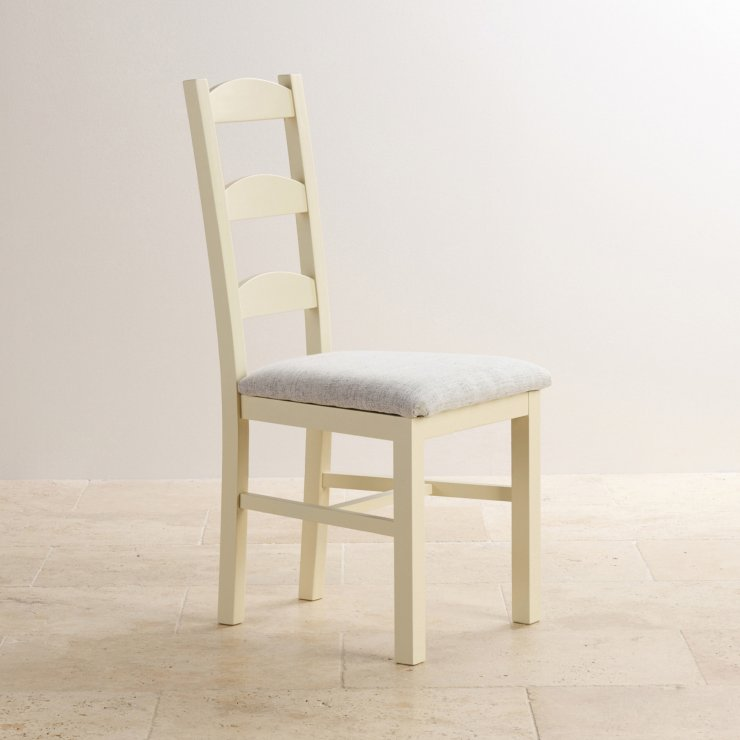 Country Cottage Natural Oak and Painted and Plain Grey Fabric Dining Chair
