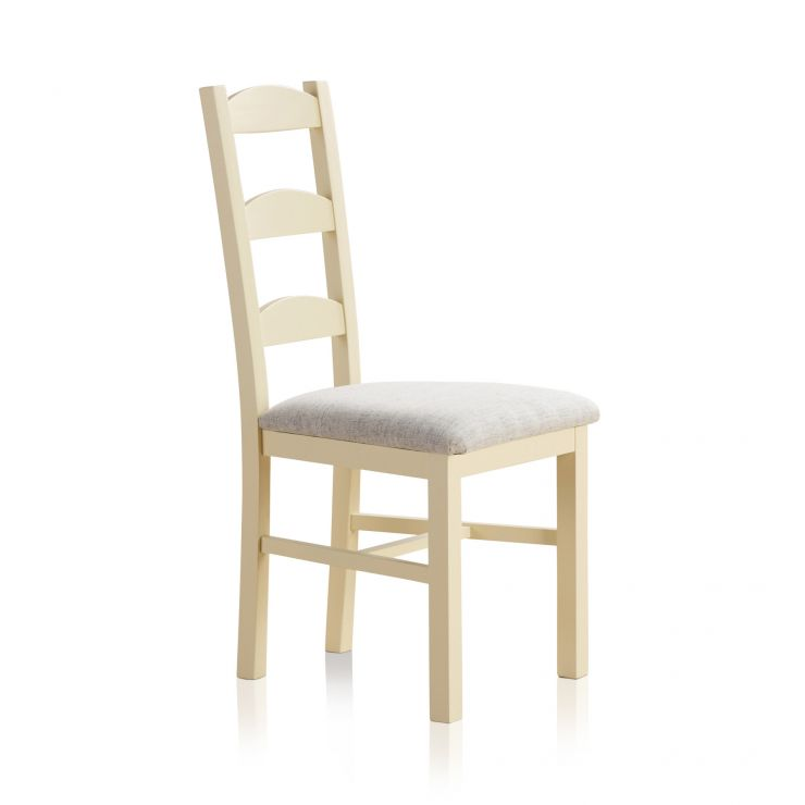 Country Cottage Natural Oak and Painted and Plain Grey Fabric Dining Chair - Image 1