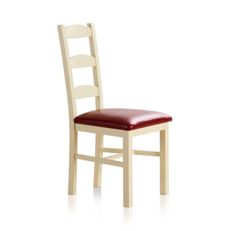 Country Cottage Natural Oak and Painted and Red Leather Dining Chair - Image 3