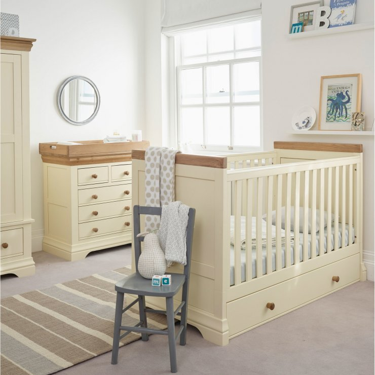 Country Cottage Natural Oak and Painted Baby Changer Dresser