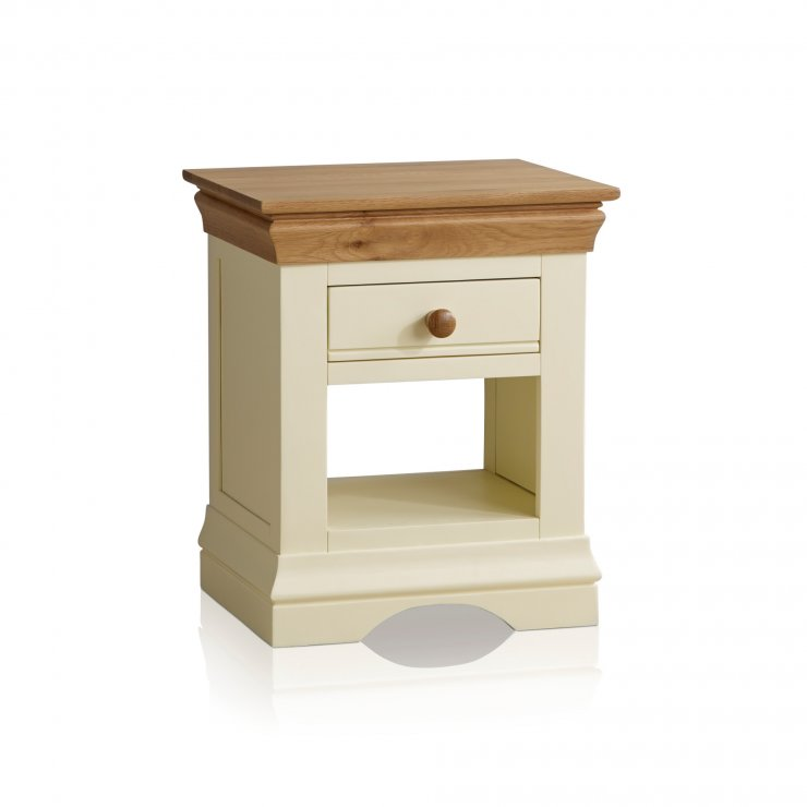 Country Cottage Natural Oak and Painted Bedside Table - Image 4