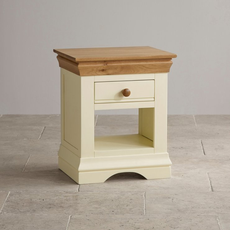 Country Cottage Natural Oak and Painted Bedside Table
