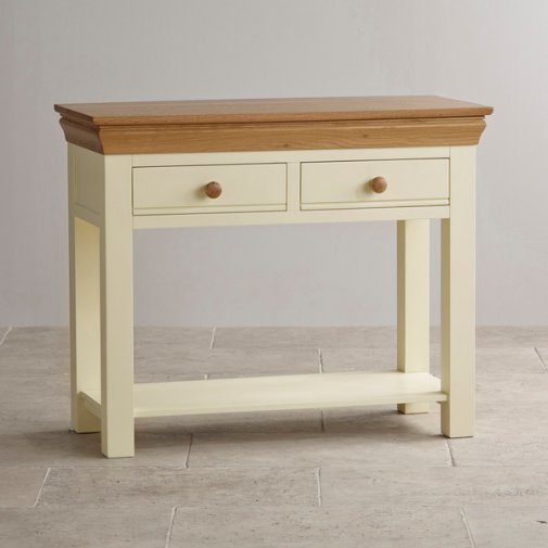 Country Cottage Natural Oak and Painted Console Table