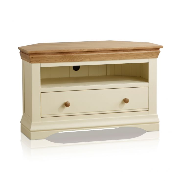 Country Cottage Natural Oak and Painted Corner TV Cabinet - Image 5