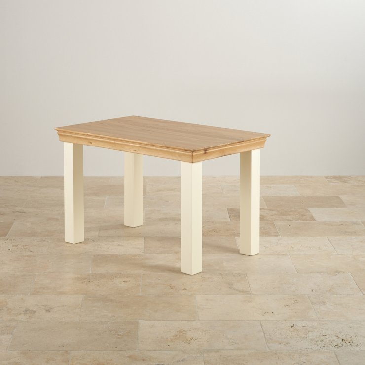 Country Cottage Natural Oak and Painted Dining Set - 4ft Table with 4 Farmhouse and Beige Patterned