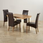 Country Cottage Natural Oak and Painted Dining Set - 4ft Table with 4 Scroll Back Brown Leather Chairs - Thumbnail 2