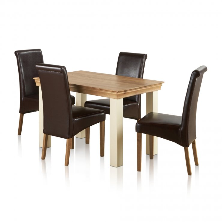 Country Cottage Natural Oak and Painted Dining Set - 4ft Table with 4 Scroll Back Brown Leather Chairs - Image 4