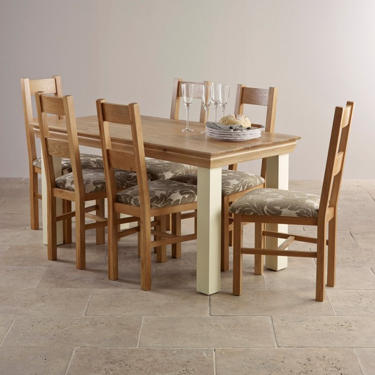 Country Cottage Natural Oak and Painted Dining Set - 5ft Table with 6 Farmhouse and Beige Patterned