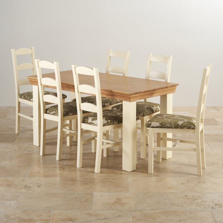 Country Cottage Natural Oak and Painted Dining Set - 5ft Table with 6 Farmhouse Beige Patterned Fabric Chairs