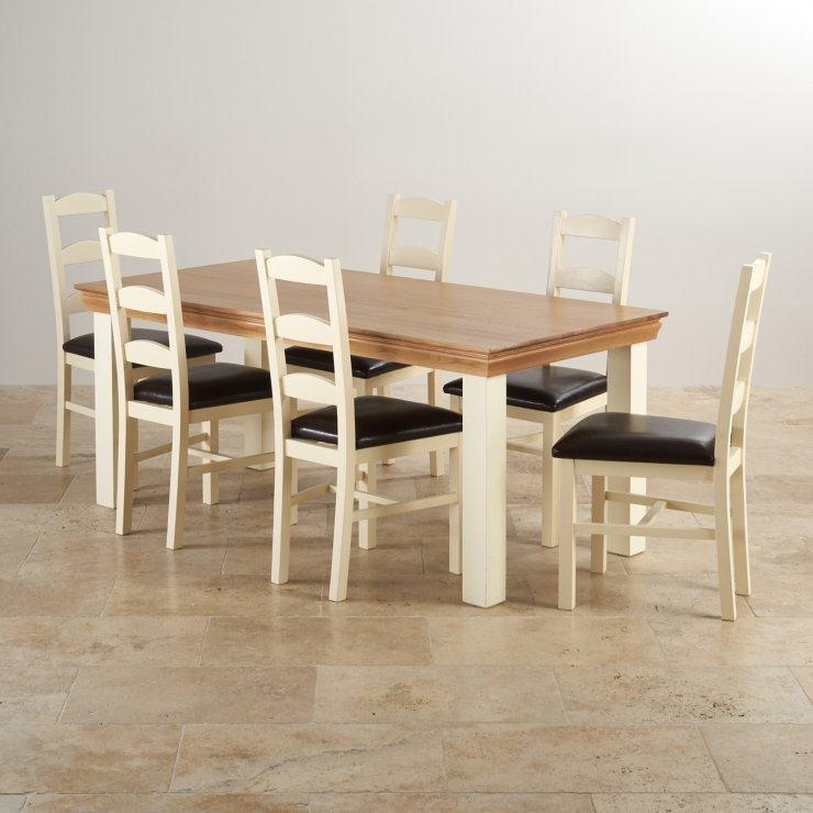 Country Cottage Natural Oak and Painted Dining Set - 6ft Table with 6 Country Cottage Leather Chairs