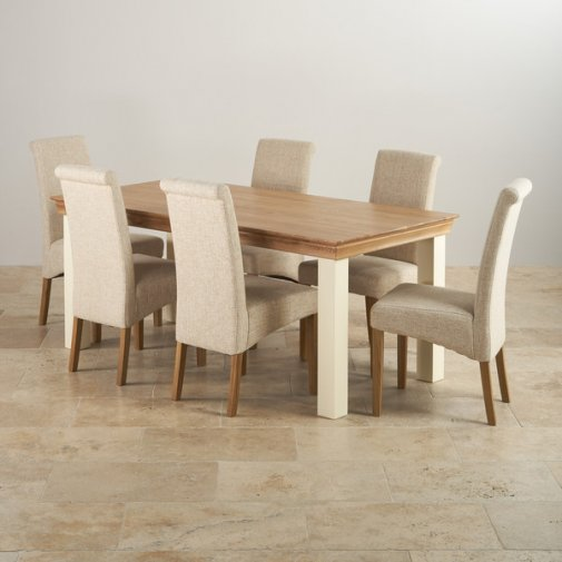 Country Cottage Natural Oak and Painted Dining Set - 6ft Table with 6 Scroll Back Plain Beige Fabric Chairs