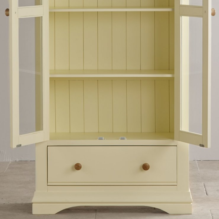 Country Cottage Natural Oak and Painted Display Cabinet