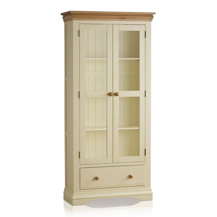 Country Cottage Natural Oak and Painted Display Cabinet - Image 6