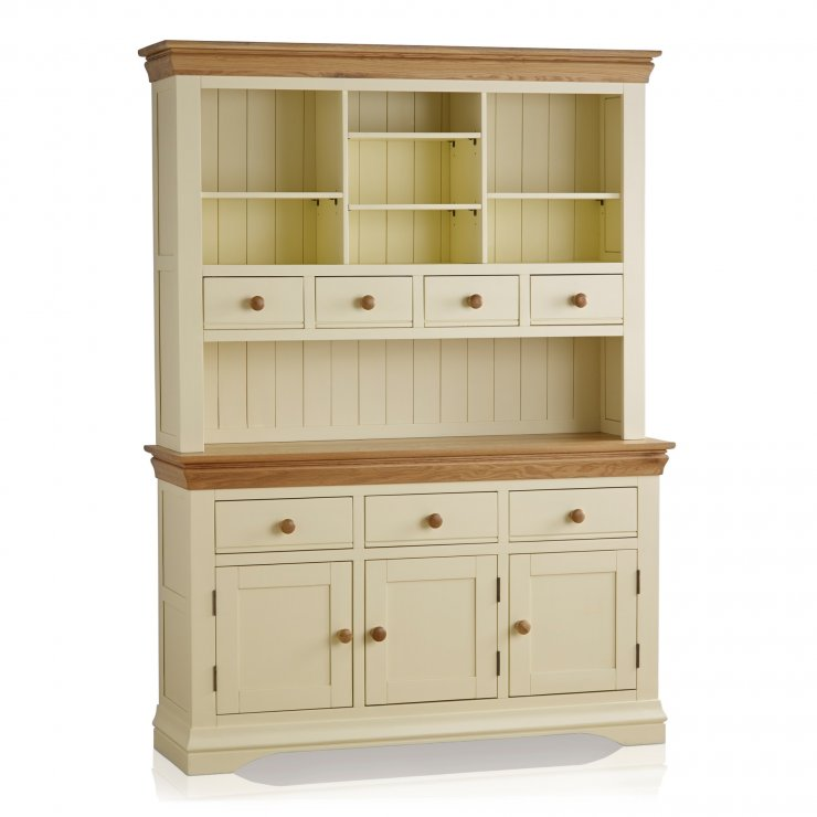 Country Cottage Natural Oak and Painted Large Dresser - Image 7