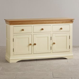 Country Cottage Natural Oak and Painted Large Sideboard