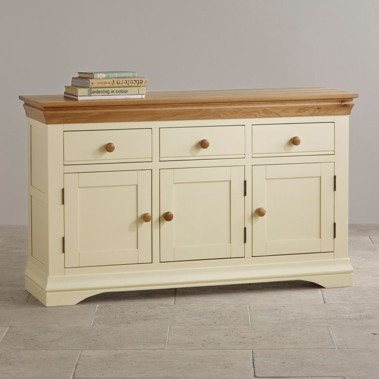 Country cottage natural oak large sideboard cream painted for Sideboard natur