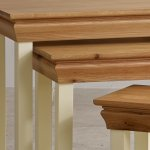 Country Cottage Natural Oak and Painted Nest of Tables - Thumbnail 3