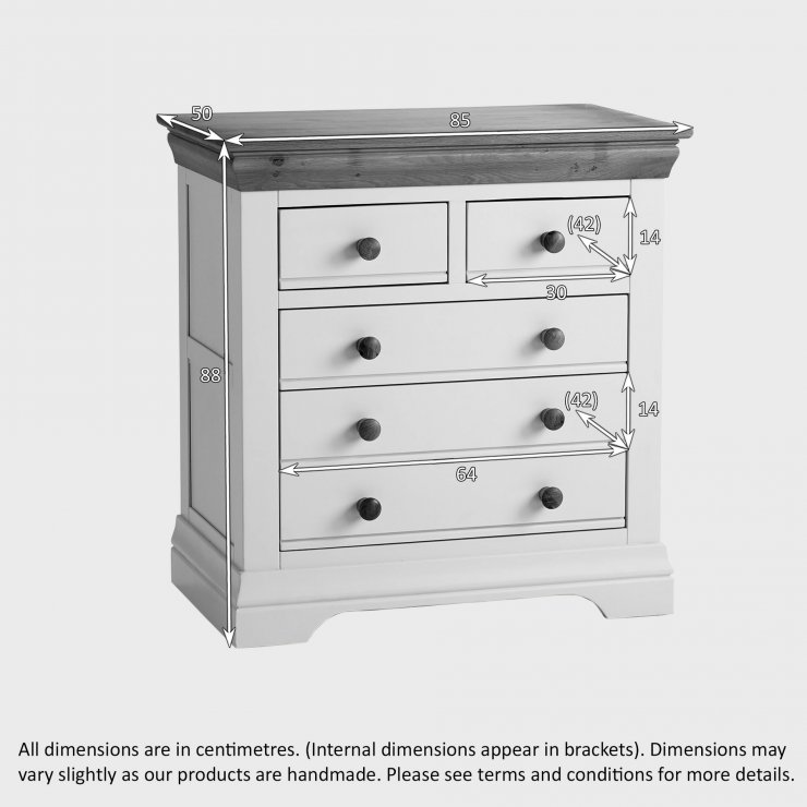 Country Cottage Natural Oak and Painted Nursery 3+2 Drawer Chest
