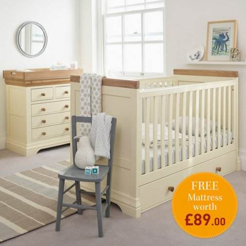 Country Cottage Natural Oak and Painted Nursery Room Set