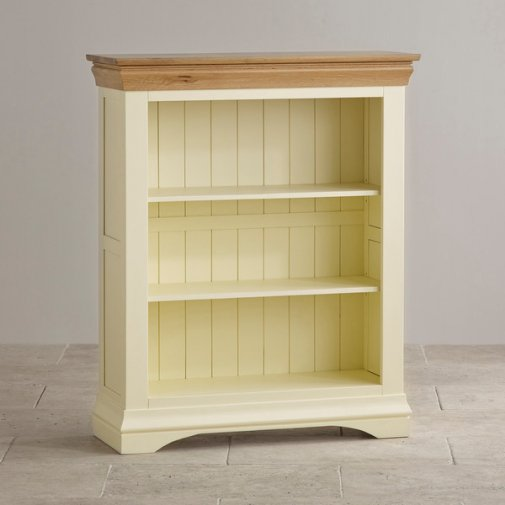 Country Cottage Natural Oak and Painted Small Bookcase