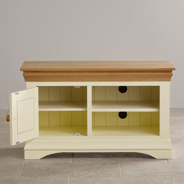 Country Cottage Natural Oak and Painted Small TV Cabinet