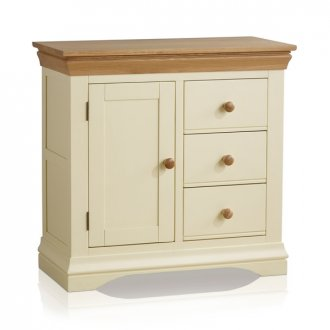 Country Cottage Natural Oak and Painted Storage Cabinet