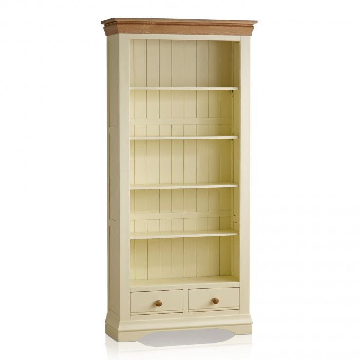 Country Cottage Natural Oak and Painted Tall Bookcase - Image 4