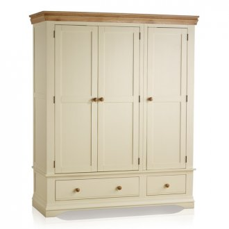 Country Cottage Natural Oak and Painted Triple Wardrobe
