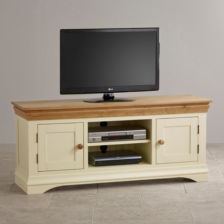 Country Cottage Natural Oak and Painted Large TV Cabinet