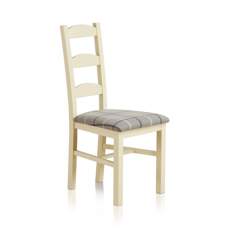 Country Cottage Natural Oak Painted and Check Granite Fabric Dining Chair - Image 3