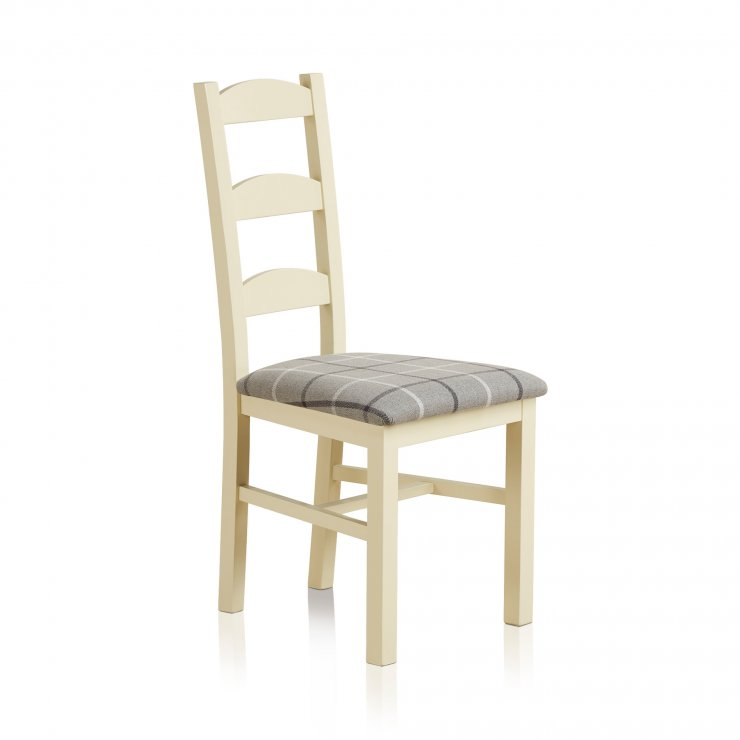 Country Cottage Natural Oak Painted and Check Granite Fabric Dining Chair - Image 2