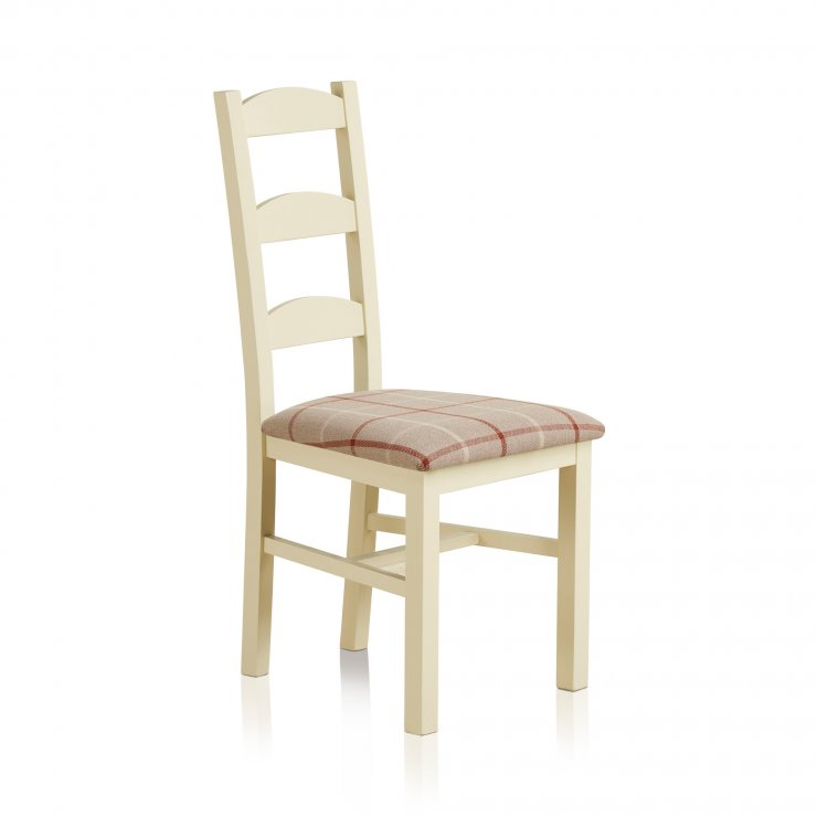 Country Cottage Natural Oak Painted and Check Natural Fabric Dining Chair - Image 3