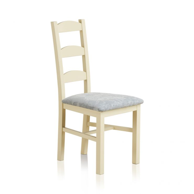 Country Cottage Natural Oak Painted and Patterned Duck Egg Fabric Dining Chair - Image 3