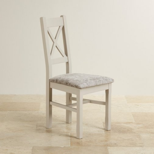 Country Cottage Natural Oak Painted and Plain Truffle Fabric Dining Chair